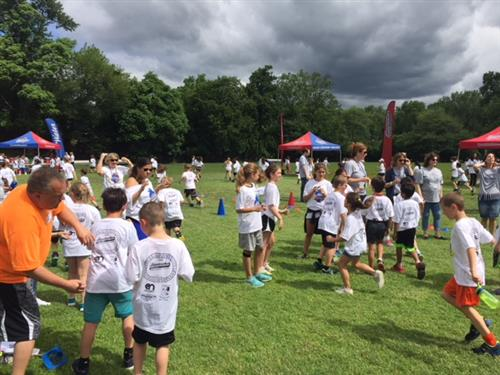 Students get checked off at the fun run