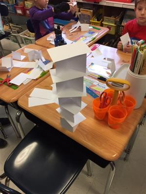 Second Grade Students Take The Paper Tower Challenge