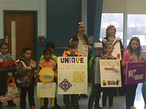 Students show off their costumes at the vocabulary parade