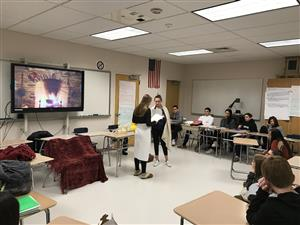 Students perform a scene from MacBeth in their English 10 class
